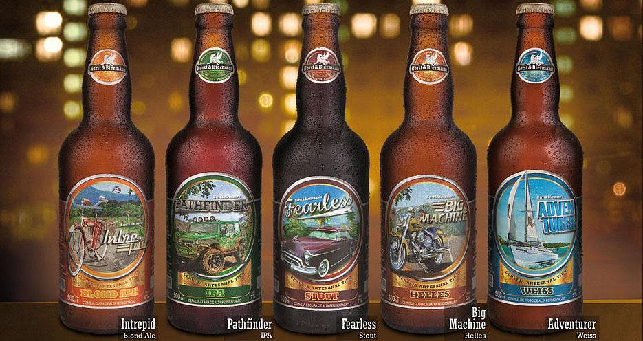 Cervejas ganham nomes épicos e rótulos com fotografias de ação trabalhadas artisticamente (Foto: Divulgação)