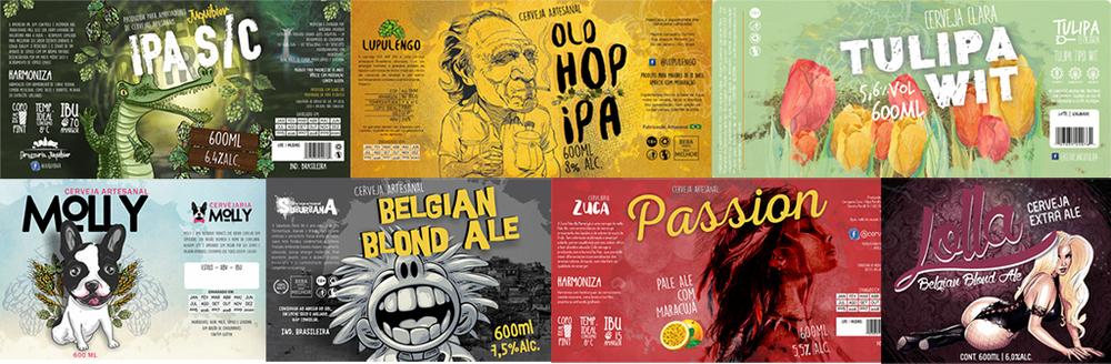 Alguns dos rótulos assinados por Vinícius Ferreira, autor do blog sobre design de cerveja no portal da Beer Art (Fotos: Divulgação)
