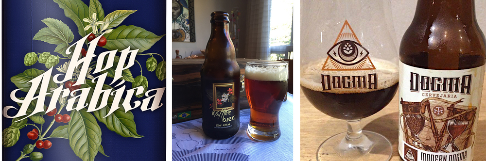 A Hop Arabica, da Morada Cia Etílica, de Curitiba (PR), a Kaffee Bier, da Von Borstel, de Londrina (PR), e a Modern Dogma, da Dogma, de São Paulo (SP), são exemplos de cerveja que levam café na receita