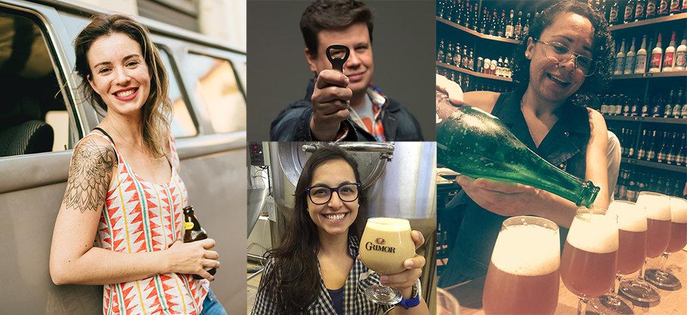 Bia Amorim, Daniel Wolff, Gabriela Montandon e Nagaia contam como estimulam a descoberta de aromas e sabores do universo da cerveja - para quem está disposta a ela (Fotos: Divulgação)