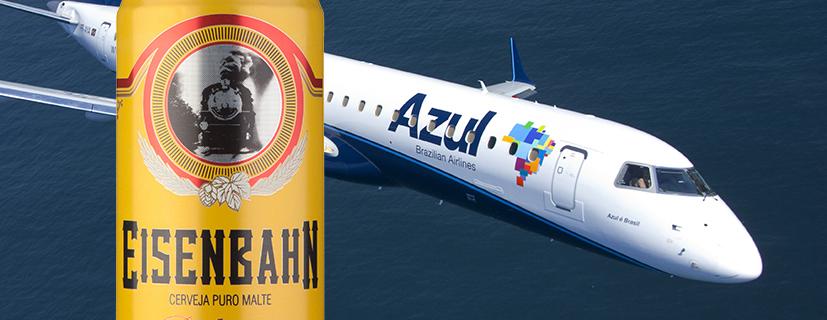 Confira os voos e o período em que a companhia aérea e a Brasil Kirin, com a WBeer, prometem servir a Eisenbahn para degustação a bordo (Fotos: Divulgação)