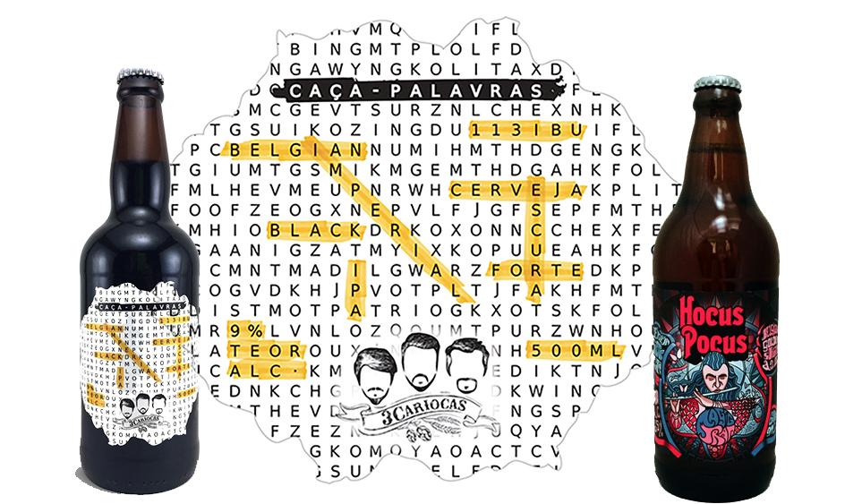 """Novidade da 3 Cariocas, a """"Caça-Palavras"""" (esq.) marca o início do serviço, ao lado de cervejas da Hocus Pocus (Fotos: Divulgação)"""