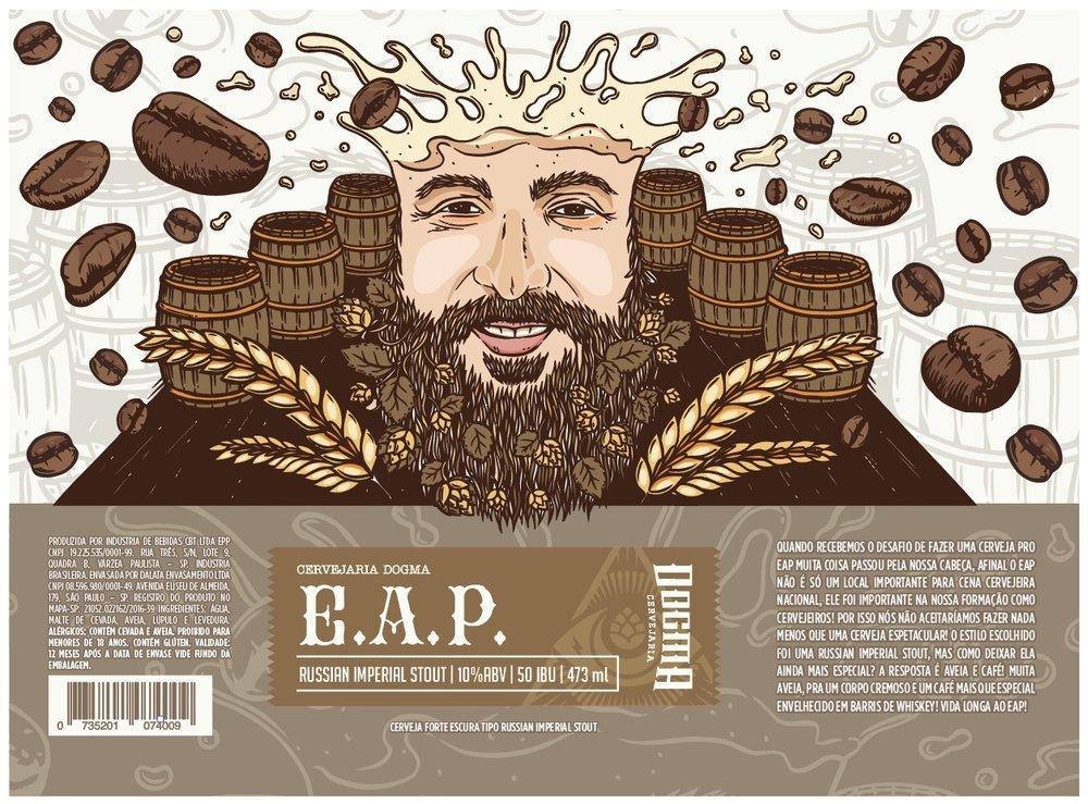Com 10% de teor alcoólico e amargor de 50 IBUs, a Dogma EAP leva aveia e café especial, envelhecido em barris de Single Malt Balvenie Whisky (Foto: Divulgação)