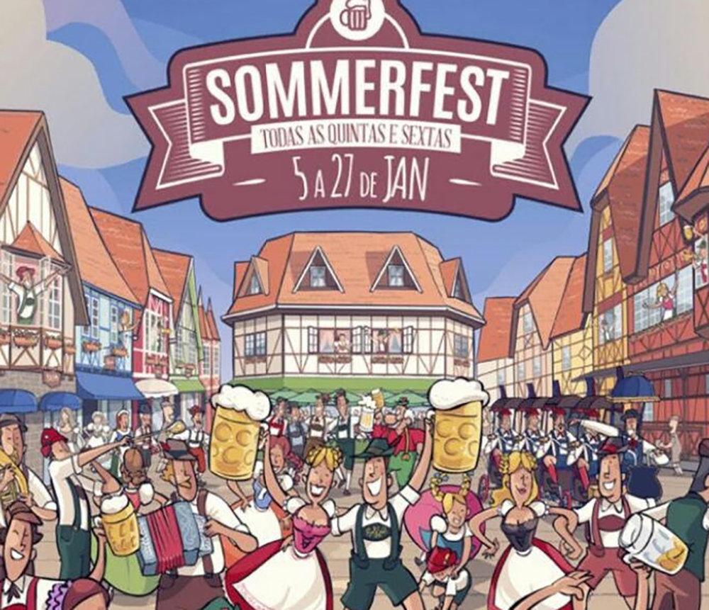 A Oktoberfest, a Sommerfest e o Festival Brasileiro da Cerveja (que em 2017 se realiza de 8 a 11 de março) se sucedem no mesmo parque, a Vila Germânica (Foto: Divulgação)