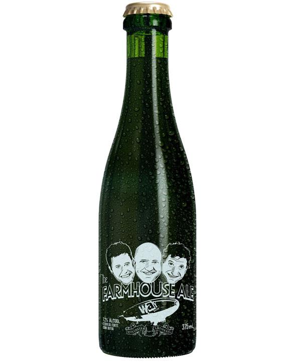 A caricatura do cervejeiro americano aparece na garrafa entre os proprietários da Way (Foto: Divulgação)