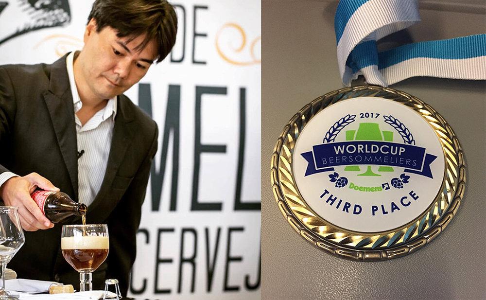 Rodrigo Sawamura, em foto do Instituto da Cerveja, e a medalha conquistada no mundial (Fotos: Divulgação)