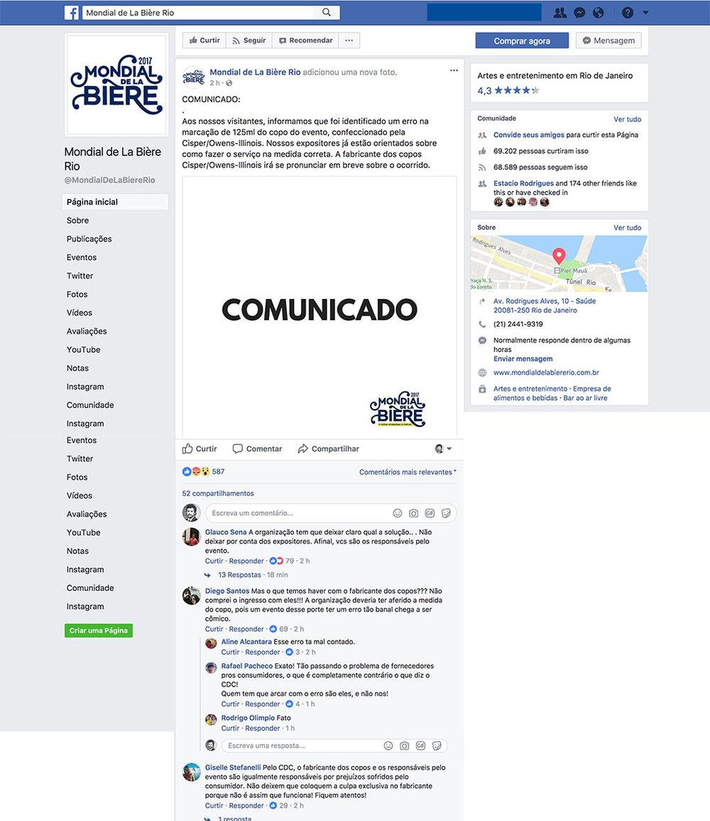 Reprodução do post do comunicado na fanpage do Mondial de La Bière Rio e de parte dos comentários publicados até a tarde desta quinta-feira, 12 de outubro