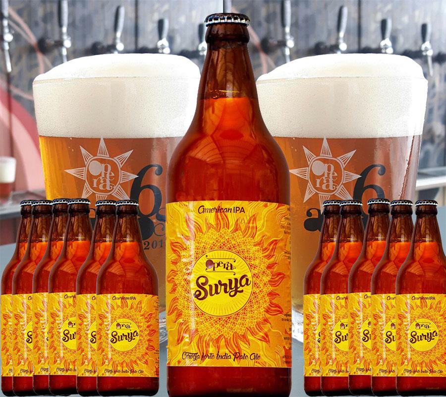Pack de aniversário inclui American IPA Surya, não pasteurizada, em 12 garrafas, com duas calderetas (Fotos: Divulgação)