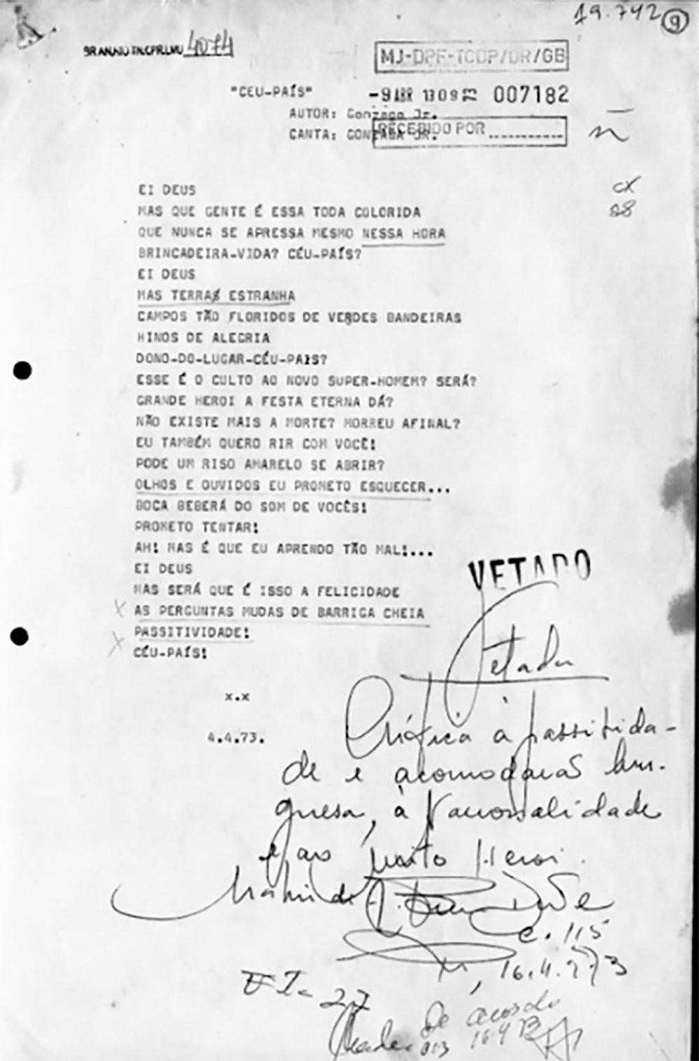 A música censurada em 1973 (Foto: Divulgação)