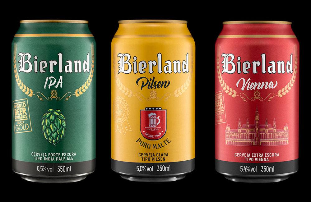 Três dos seis estilos que fazem parte da primeira linha da Bierland em lata (Foto: Divulgação)