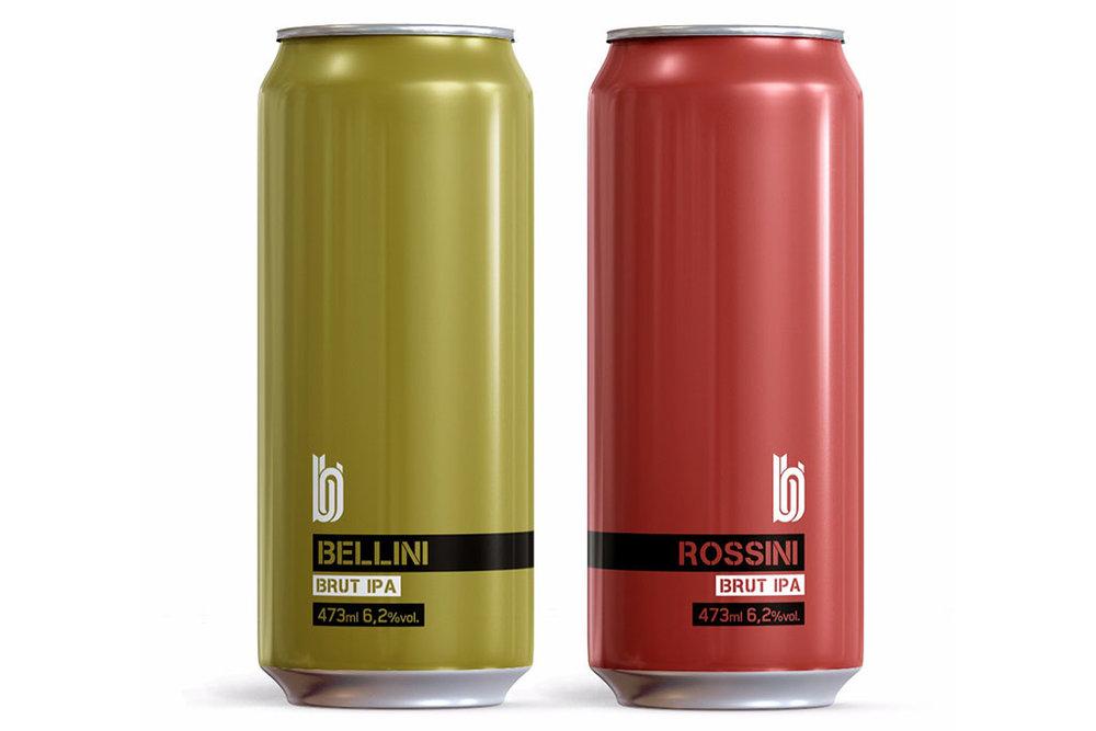 A Bellini Brut IPA tem adição de pêssego, e a Rossini Brut IPA, adição de morango, amora e framboesa (Foto: Divulgação)