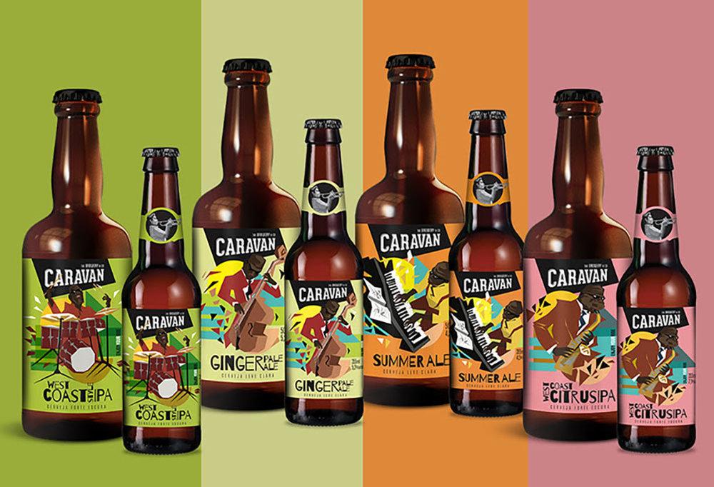 O novo design dos rótulos da linha da Caravan Beer (Foto: Divulgação)