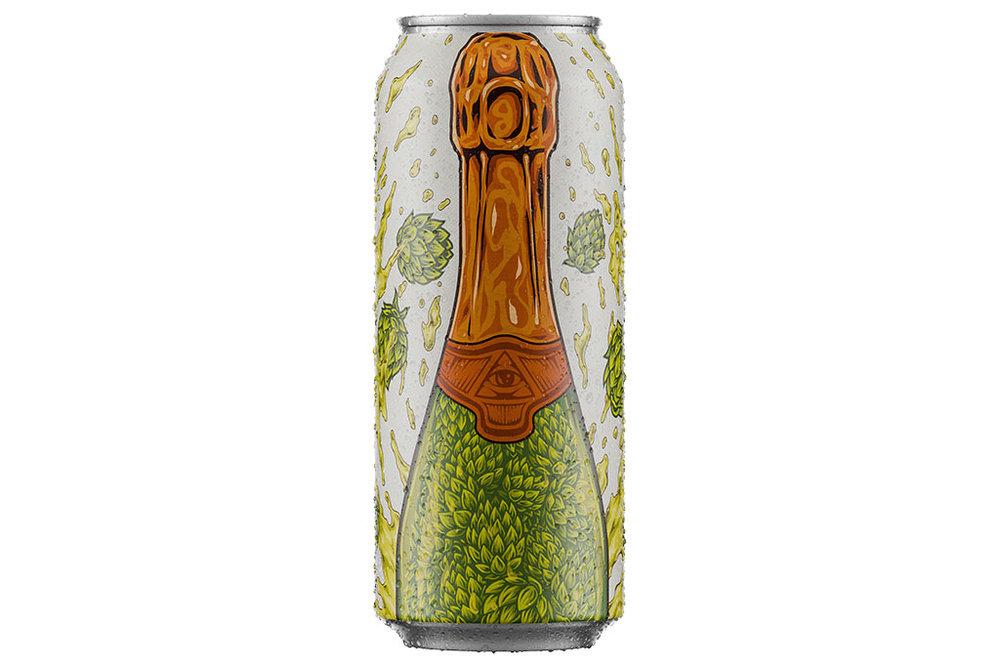 Na embalagem da Hop Brut, uma ilustração feita pelo estúdio FORM em parceria com o ilustrador Caio Stolf remete a uma garrafa de espumante (Foto: Divulgação)