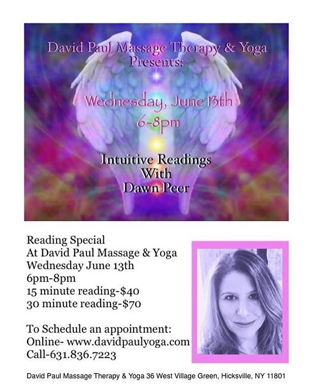 Please join us for Intuitive Readings w/ Dawn on Wednesday, June 13th between 6:00 PM-8:00 PM. Dawn is an incredibly gifted and compassionate Intuitive and we are honored to have her as a part of our community 🕉  Call/text 631.836.7223 or book your one-on-one appointment through the mindbody app  #davidpaulyoga #angelcards #angelcardreading #intuitivereading #healing #longisland