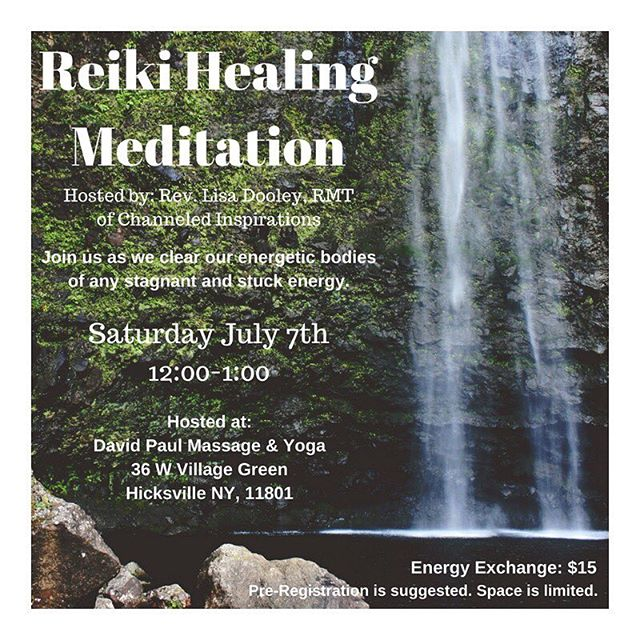 We are excited to present a Reiki Healing Meditation w/ Rev. Lisa Dooley RMT, on July 7th @12:00 PM. We are honored to welcome Lisa into our healing community 🕉  Call/text 631.836.7223 or book through the mindbody app to reserve your spot! #longisland #reikihealing #healing #release #meditation #healing #davidpaulyoga