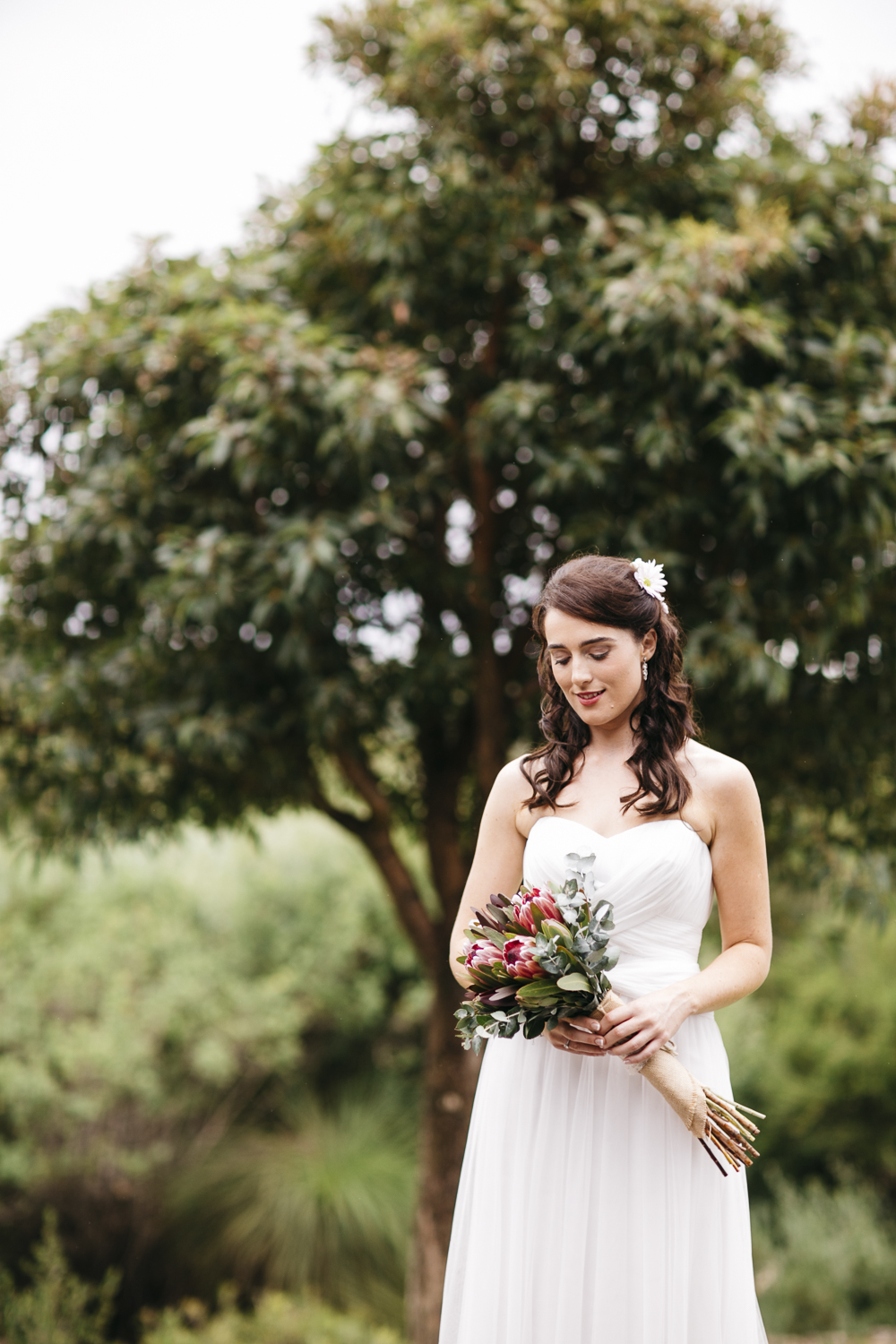bridal portrait with native Australian flowers