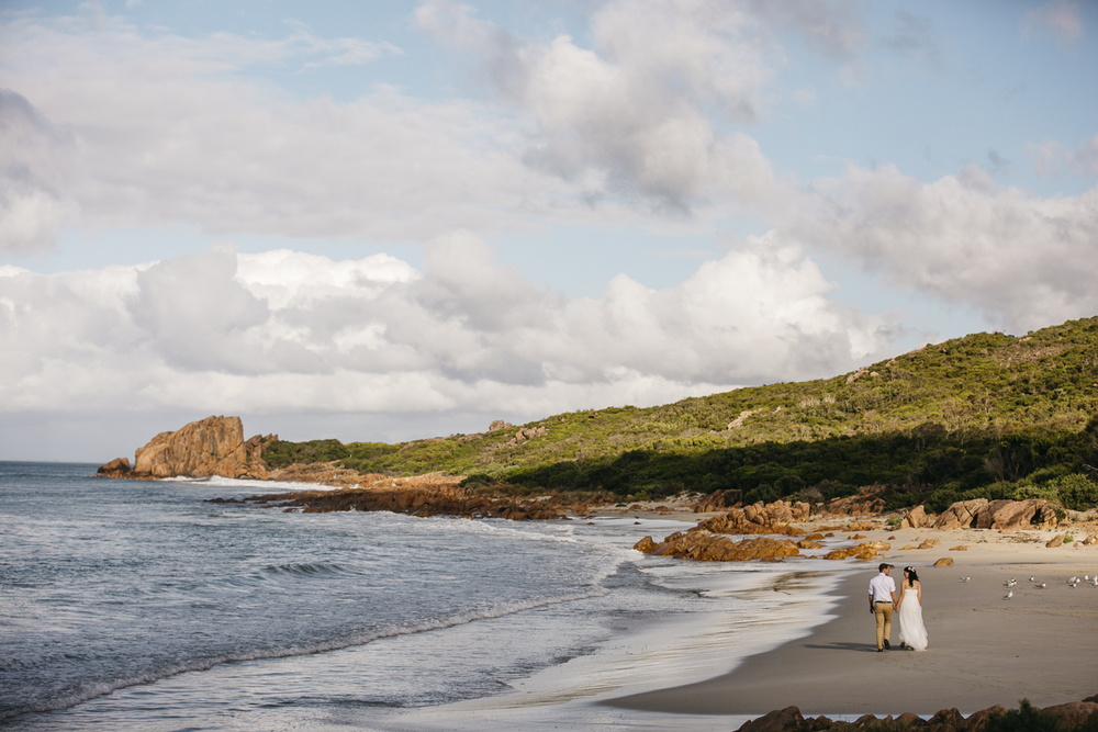 bride and groom portrait at dunsborough beach