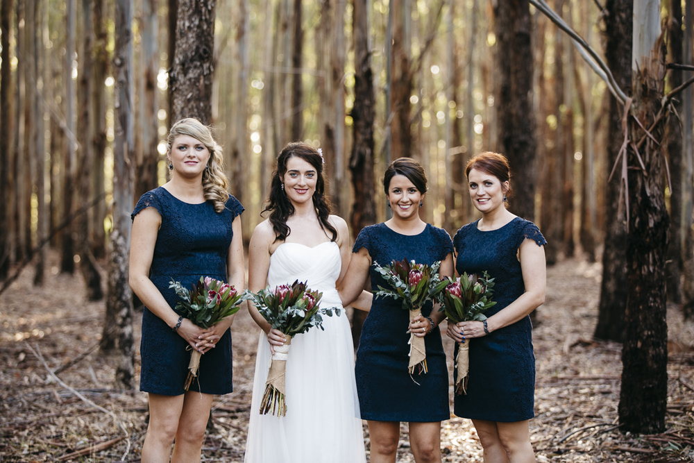bridesmaids and bride in forest margaret river