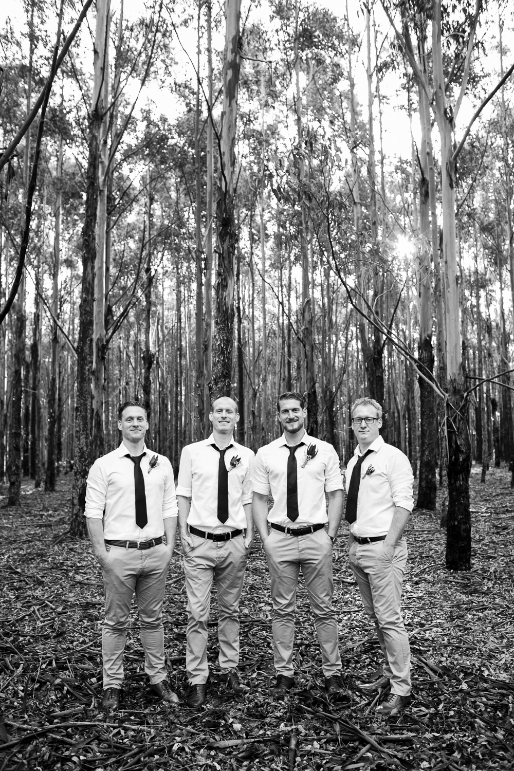 groomsmen in forest margaret river