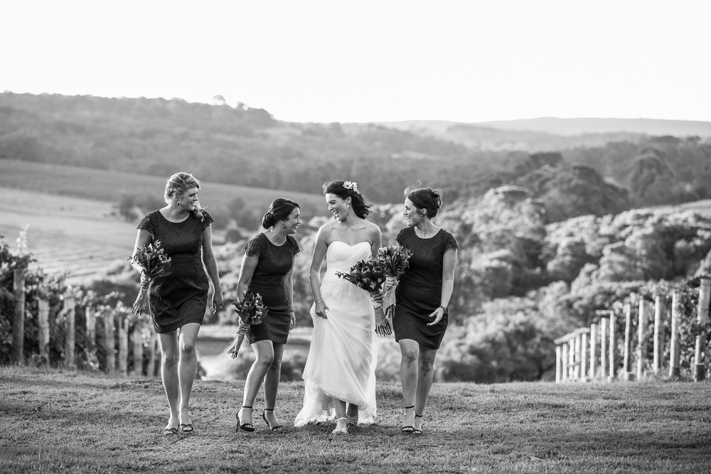bride and bridesmaids at wills domain