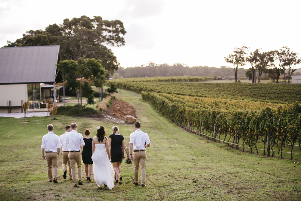 bridal party at wills domain yallingup