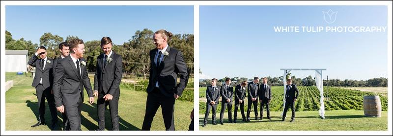 groomsmen await bride