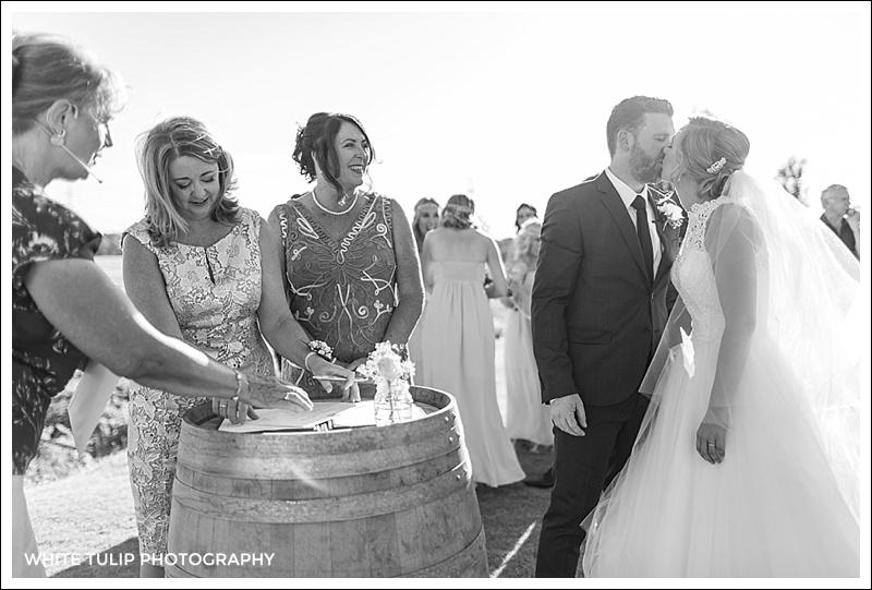 signing register at riverbank estate wedding