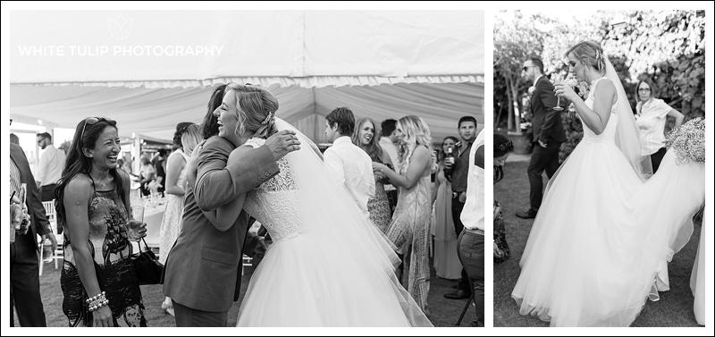 congratulating bride and groom at wedding ceremony riverbank estate