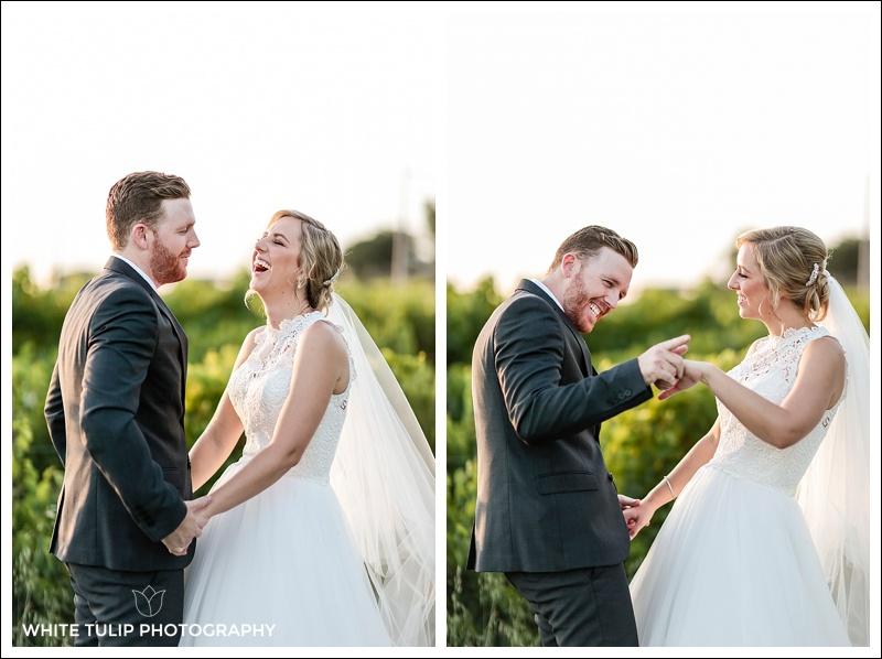 bride and groom portrait in vineyard swan valley