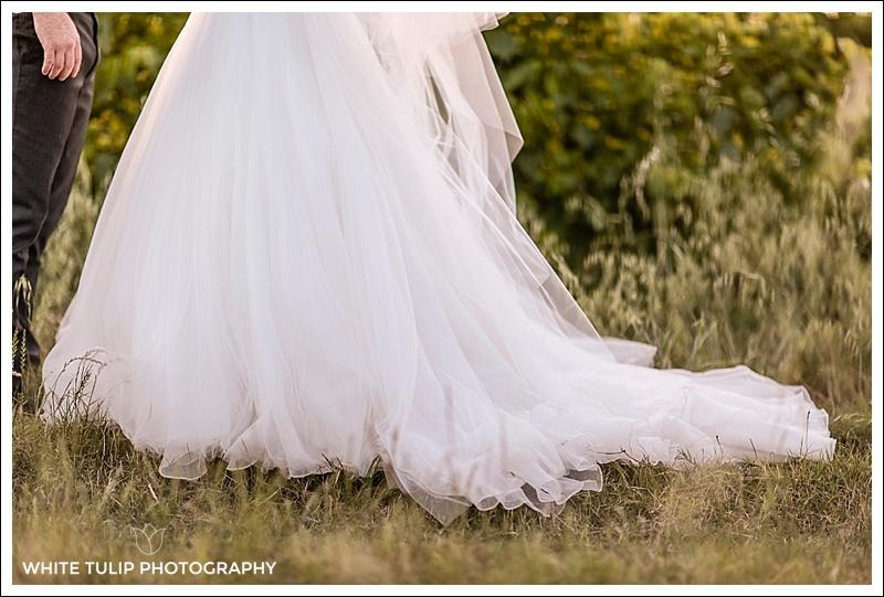 wedding dress in vineyard