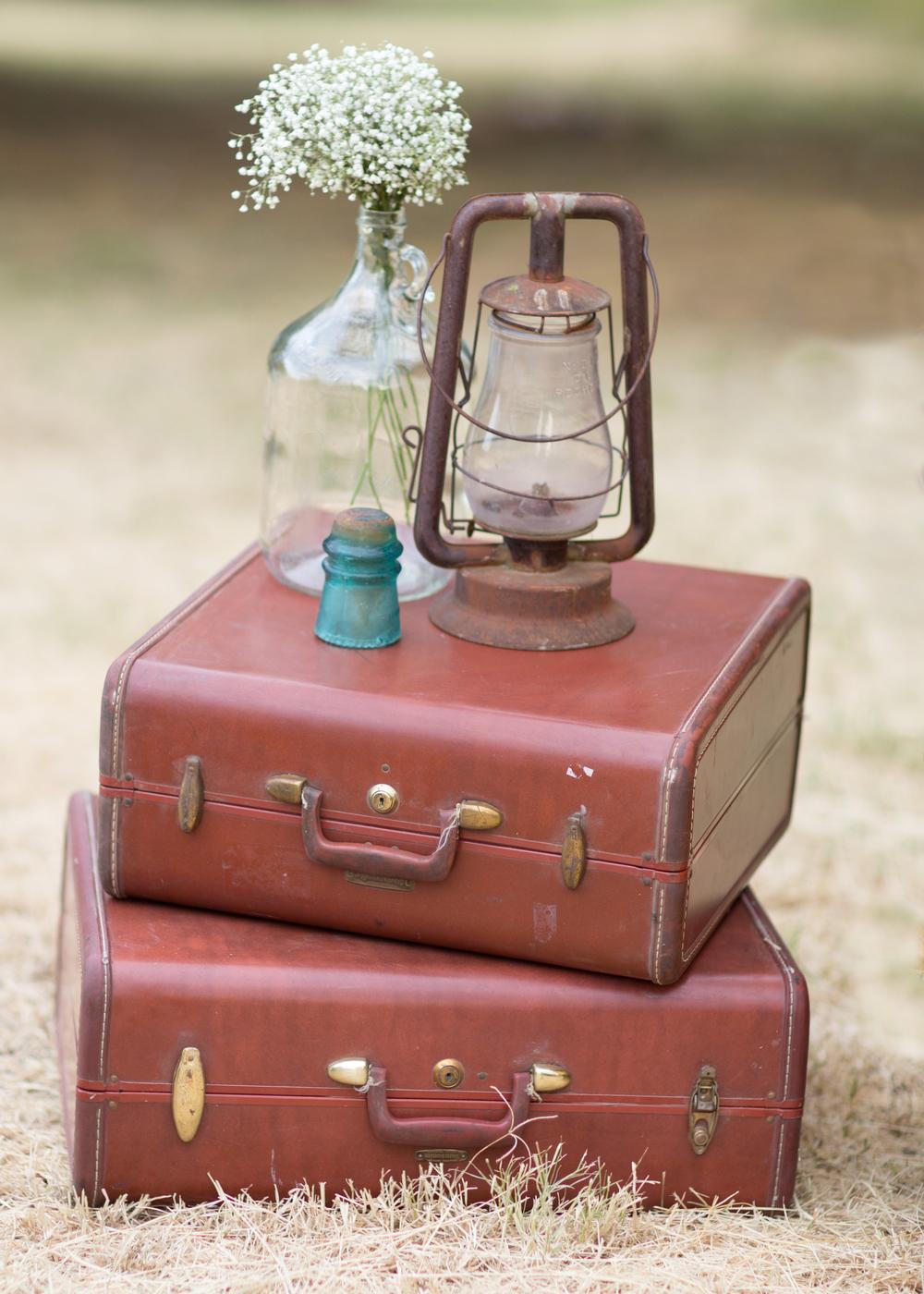 Vintage Suitcases, Rustic lantern