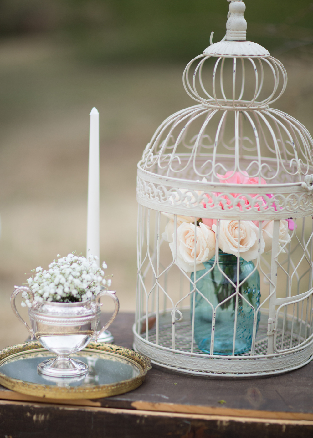 Birdcage, Mason Jars, Vintage mirror