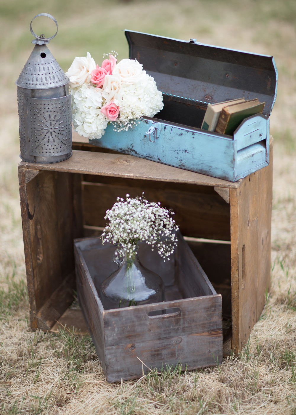 Rustic tool box, Crates, rustic lantern