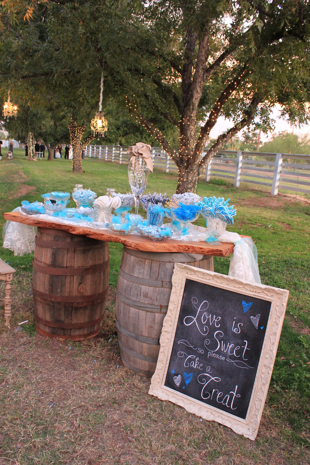 Wine barrel tabletop- dessert table
