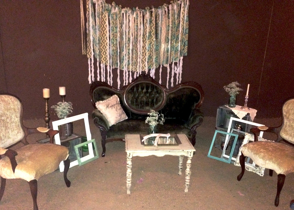 Vintage lounge setting with Evelyn loveseat and Elvis and Priscilla Chairs