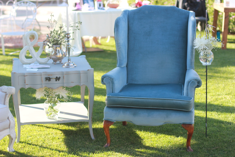 Johnny and June Chairs and Violet side table