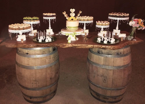 Wine Barrels with wood top