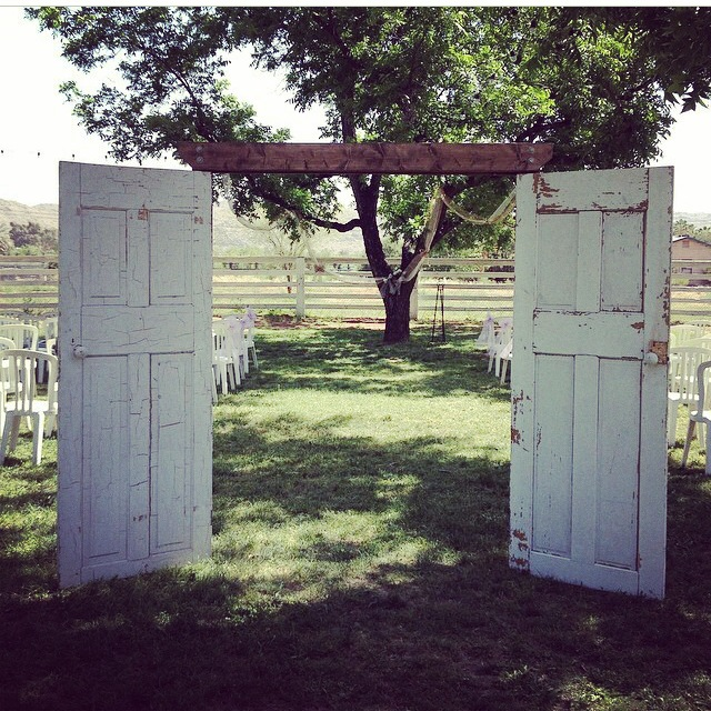 We used these french doors as a beautiful and creative Aisle Entrance at The Farm at South Mountain. The Doors closed shut to reveal the beautiful Bride when it was her time to walk down the aisle!