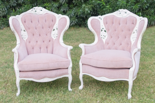 Meet Scarlett and Rhett! These beautiful chairs have been refinished in soft white wood and light pink fabric. They are so romantic and unique!