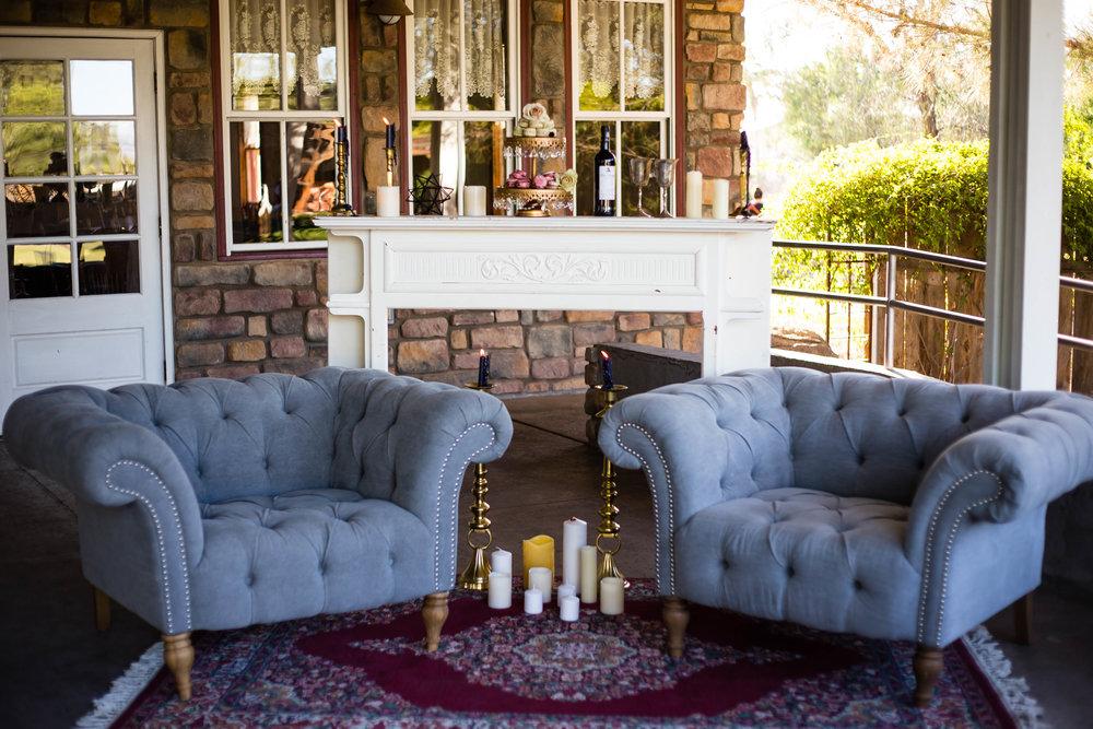 Photo: A Traveler's Heart / Florals and Design: Bloom & Blueprint / Furniture: Prim Rentals / Rentals: AZ Retro Rentals / Sweets: Suzy B's Homemade Goodies / Venue: Shenandoah Mill