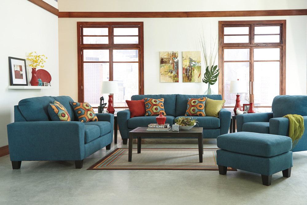 Sagen Living Collection By Ashley Furniture   Teal Blue Or  Part 67