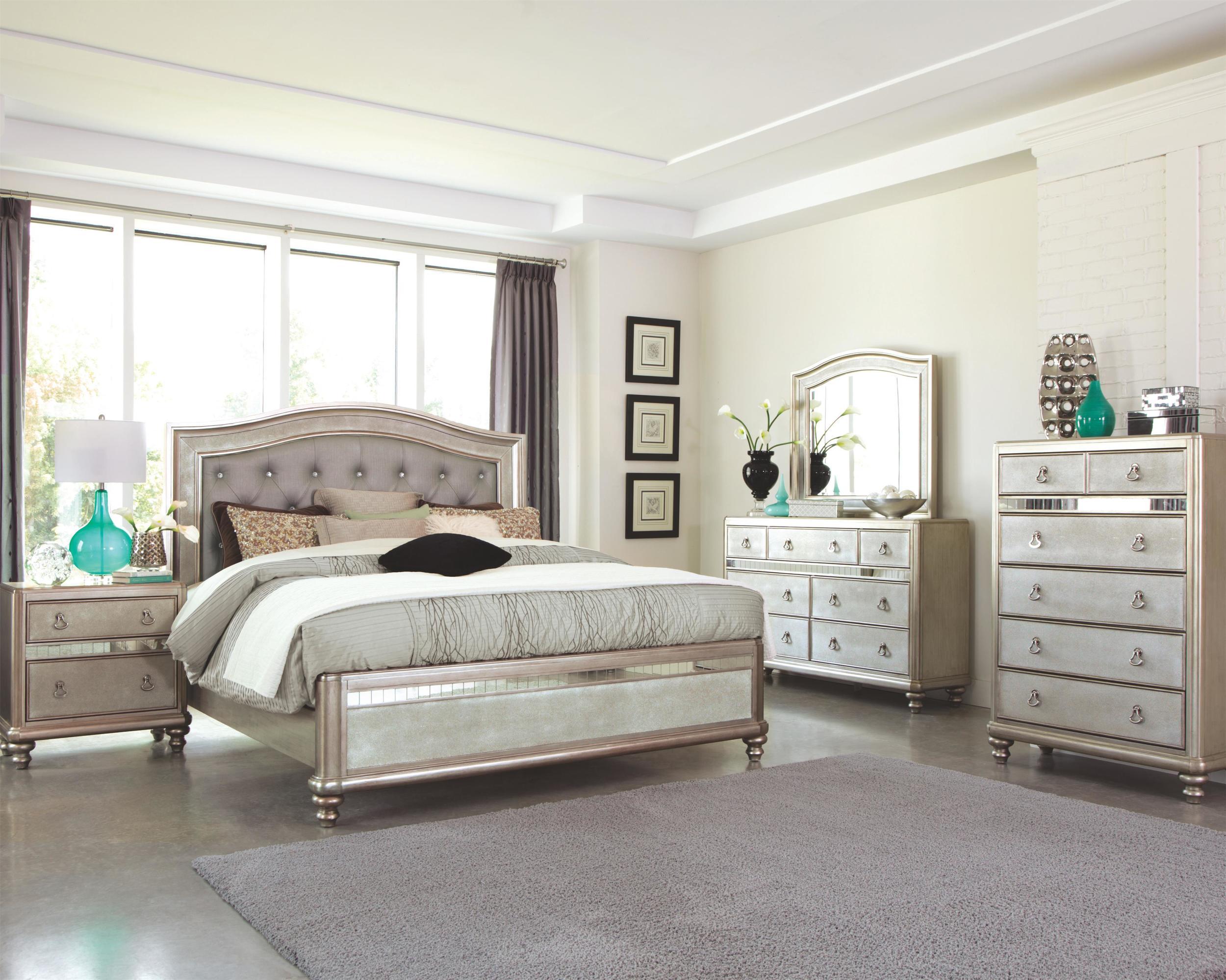hollywood bling bedroom set - platinum finish — unique piece furniture
