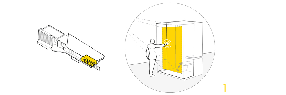 Browsing | Part enclosed study space, part virtual bookshelf interface, the browsing bay module populates the first floor and utilizes projection and touch navigation to connect people to information as well as each other.
