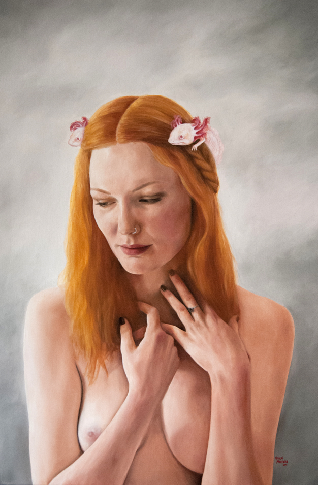 "The Wistful Nymph, by Vivien Masters, oil on linen, 24x36"", 2014"