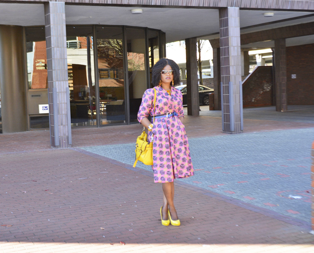 I am leaning towards my Afrocentric style lately and with the spring in full swing. I am enjoying every bit of it although I don't get out much lately but  whenever I do, is with a bang and on Sunday I went with one of my own designed African prints (Ankara) wrap dress in a really pop colour and opted for accessories in yellow and blue hue. It's time to go bold and bright and I am so ready, hope you are too? Always dress to be you. OUTFIT: Wrap dress- Own design/ Bag- Mulberry/ Heel- Aldo (similar here)/ Belts- Newlook/ Sunnies- Ray Ban (similar here)/ Ring- Accessorize(similar here)