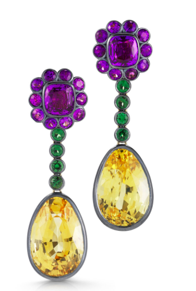Yellow sapphire drop earrings with purple sapphires and tsavorite garnets.  MCTEIGUE & MCCLELLAND
