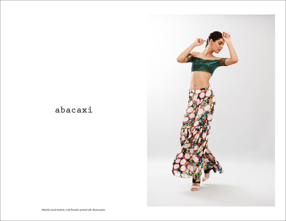 abacaxi Metallic mesh bralette, with Paradise printed silk shirara pants version 2.jpg