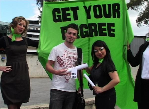 Get your degree, Pay full Fee, group devised outdoor interactive performance, Deakin University 2007