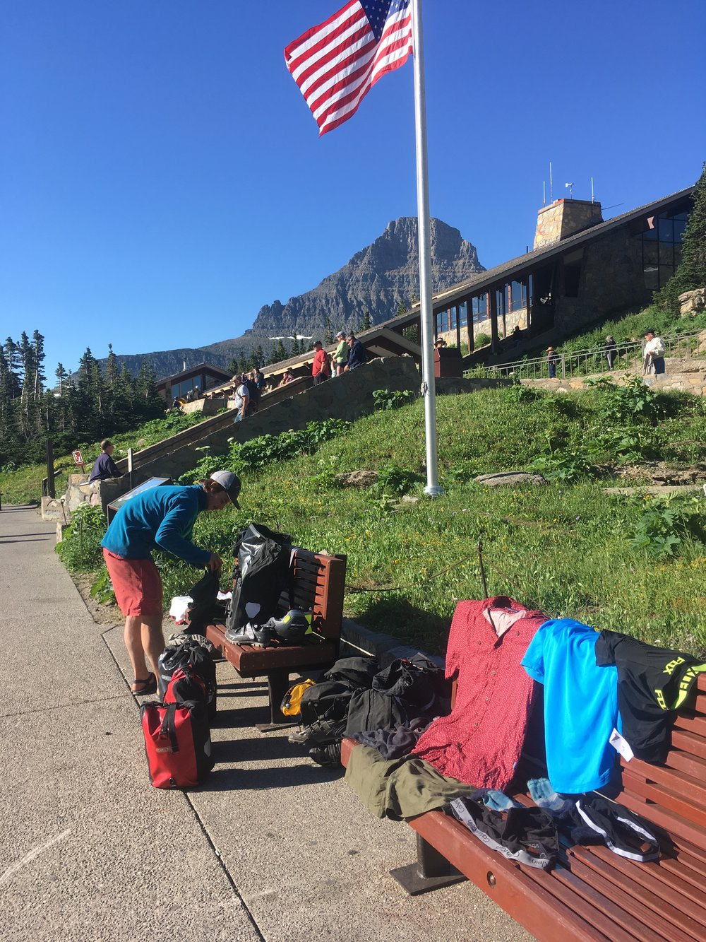Jack drying our laundry at the top of Going to the Sun Road in Glacier National Park.