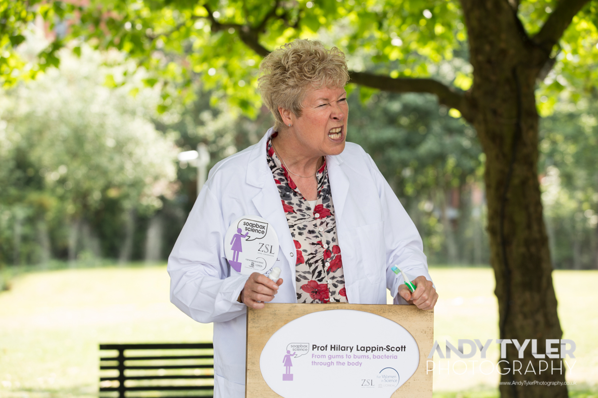 Prof Hilary Lappin-Scott at Soapbox Science